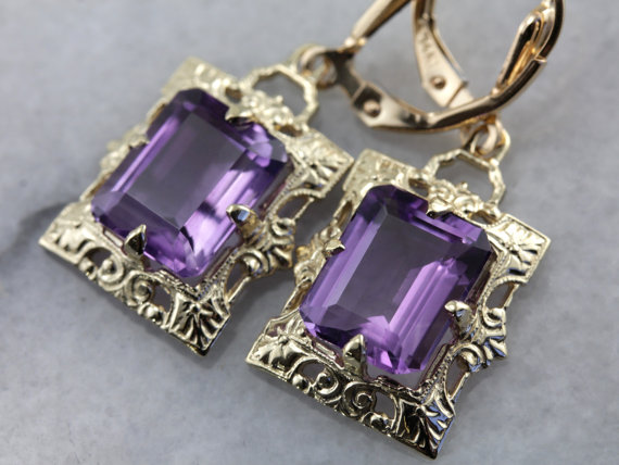 9. Amethyst and Yellow Gold Isabel Earrings from The Elizabeth Henry Collection