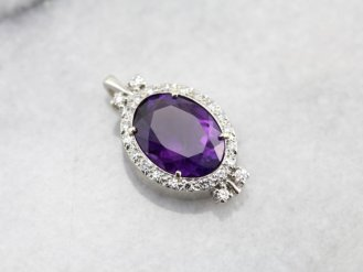 8. Amethyst and Diamond Halo Pendant