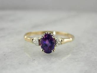 14. Retro Floral Plum Purple Sapphire Engagement Ring