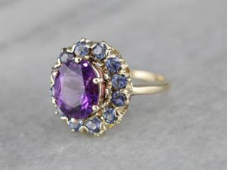 16. Amethyst and Sapphire Halo Party Ring