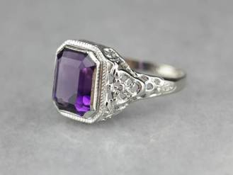 17. Art Deco Amethyst Cocktail Ring