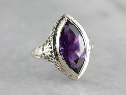 10. Art Deco Amethyst Cocktail Ring
