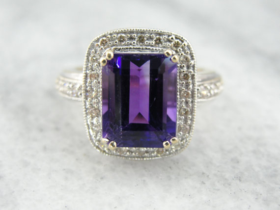 1. Amethyst White Gold Pave Diamond Halo Cocktail Ring