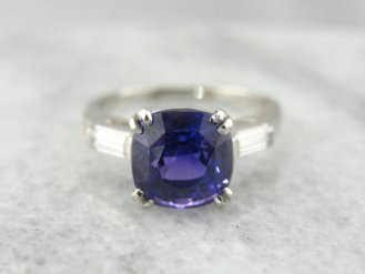 3. Rare Imperial Purple Ceylon Sapphire Platinum Engagement Ring