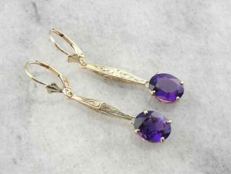 5. Zambian Amethyst and Antique Gold Drop Earrings