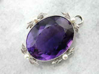 6. Rare Amethyst and Antique Gold Pendant with Pearl Accents