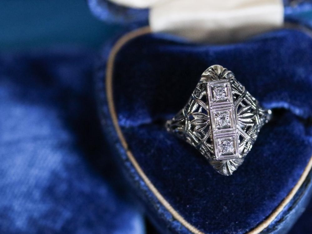 Art Deco Diamond filigree white gold dinner ring.