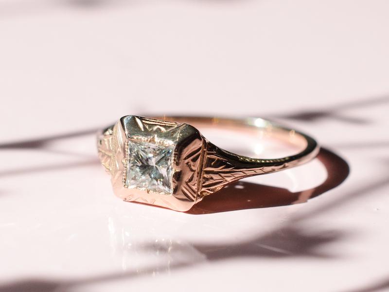 Modern rose gold Elizabeth Henry diamond ring