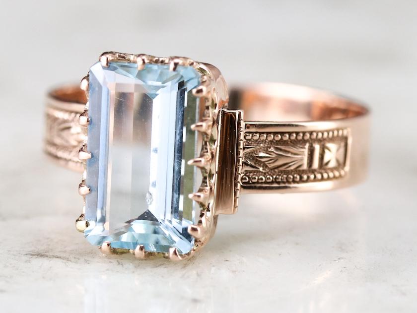 Victorian aquamarine rose gold ring