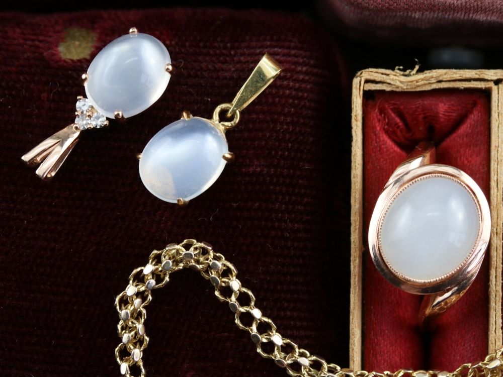 Moonstone jewelry from Market Square Jewelers